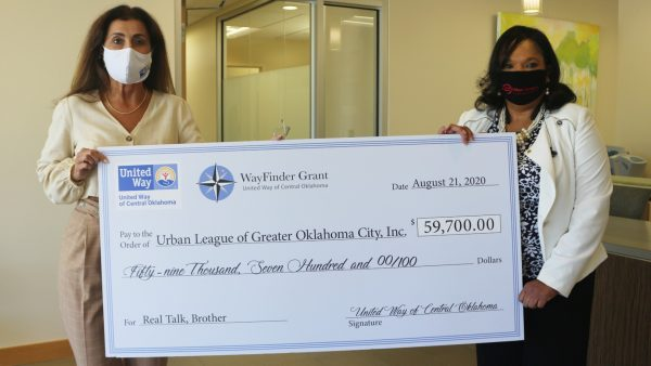 United Way of Central Oklahoma President and CEO, Debby Hampton, awarding Urban League of Greater Oklahoma City's Dr. Valerie Thompson the WayFinder Innovation Grant